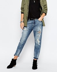 Only Boyfriend Jeans With Distressing Blue