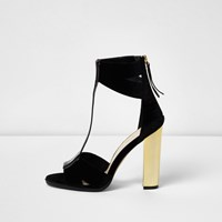 River Island Womens Black T Bar Gold Heel Sandals