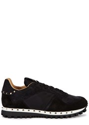 Valentino Studded Camouflage Trainers Black
