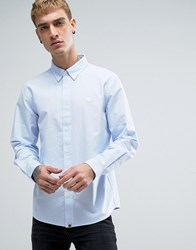 Pretty Green Logo Oxford Shirt In Blue Blue