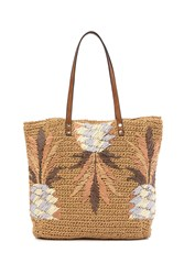 Tommy Bahama Puerto Limon Straw Tote Bag Natural Metallic Fan