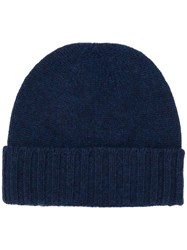Pringle Of Scotland Ribbed Beanie Hat Blue