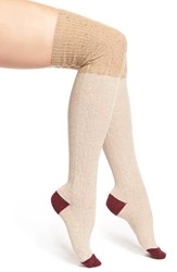 Women's Free People 'Back Together' Colorblock Over The Knee Socks