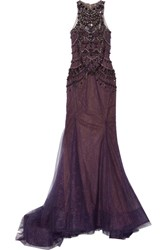 Marchesa Embellished Tulle And Chantilly Lace Gown Dark Purple
