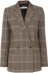 Givenchy Double Breasted Checked Wool Blend Blazer Beige