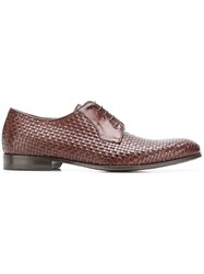 Canali Woven Derby Shoes Brown