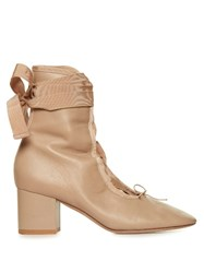 Valentino Ballerina Lace Up Ankle Boots Nude