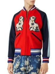 Gucci Embroidered Felt Bomber Jacket Multi