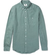 Nn.07 Nn07 New Derek Slim Fit Button Down Collar Linen Shirt Green