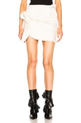 Marques ' Almeida Denim Knotted Mini Skirt In White