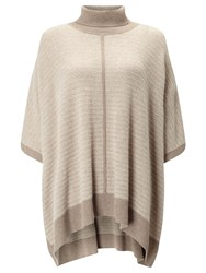 John Lewis Roll Neck Cashmere Poncho Toast Champagne