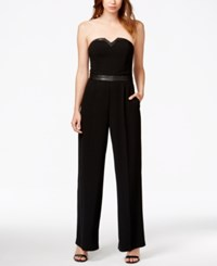 Guess Strapless Faux Leather Detail Jumpsuit Jet Black