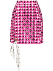 Versace Scarf Detailed Houndstooth Silk Mini Skirt 60