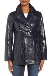 Halogen High Shine Leather Peacoat Blue