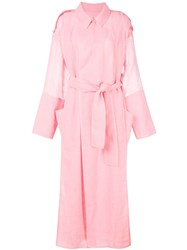 Maison Rabih Kayrouz Belted Trench Coat Pink