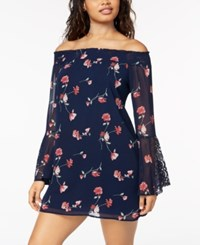 My Michelle Juniors' Off The Shoulder Crochet Detail Dress Navy Coral