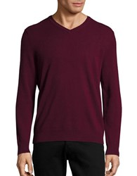 Black Brown Cashmere V Neck Sweater Dark Raspberry