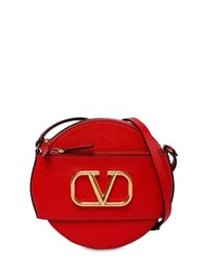 Valentino Garavani Vlogo Leather Circle Bag Rouge Pure