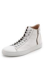 Wings Horns Leather High Top Sneakers White White White