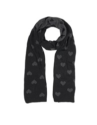 Julia Cocco' Multi Heart Women's Long Scarf Black Gray