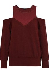 Monrow Woman Cold Shoulder Ribbed Jersey Paneled French Terry Sweatshirt Burgundy