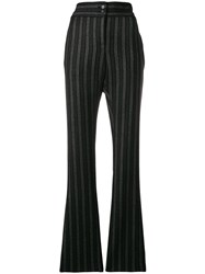 Romeo Gigli Vintage Stripe Flared Tailored Trousers Black