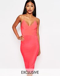 Club L Midi Dress With Cami Strap Neon Pink