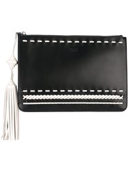 Tod's Stitching Detail Clutch Women Calf Leather One Size Black