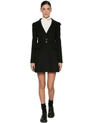 Valentino Wool And Cashmere Coat W V Belt Black