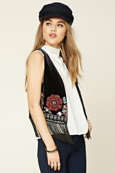 Forever 21 Velvet Embroidered Fringed Vest Black Yellow
