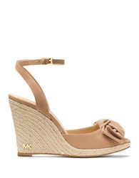 Michael Michael Kors Willa Bow Accented Wedge Sandals Dark Khaki