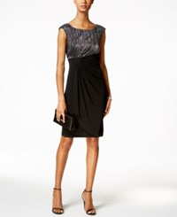 Connected Petite Metallic Faux Wrap Dress Black