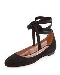 Tabitha Simmons Daria Suede Ankle Wrap Flat Black
