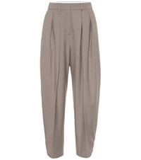See By Chloe Wool Blend High Rise Tapered Pants Beige