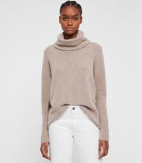 Allsaints Arun Roll Neck Sweater Oatmeal Brown