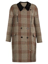 Isabel Marant Friso Checked Contrast Collar Oversized Coat Beige Multi
