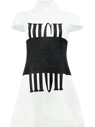 Anrealage Printed Short Sleeve Dress White