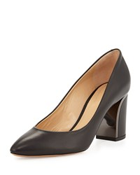 Chloe Metal Trim Leather 70Mm Pump Black Gunmetal