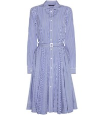 Polo Ralph Lauren Dori Striped Cotton Shirt Dress Blue