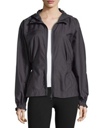 Adidas By Stella Mccartney Run Zip Front Hooded Performance Jacket Gray