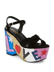 Saint Laurent Candy Love Suede Platform Wedge Sandals Black Multi