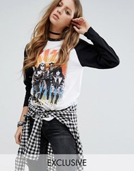 Kiss And Tell Raglan Long Sleeve T Shirt With Print White