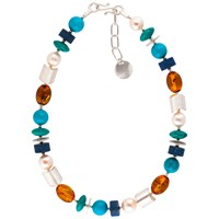 Be Jewelled Sterling Silver Amber Pearl Turquoise And Lapis Necklace Multi