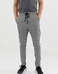 Fairplay Bugsy Trousers With Elasticated Waist And Zip Cuff In Check Grey