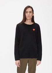 Comme Des Garcons Red Heart Crew Neck Sweater Black