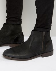 New Look Leather Chelsea Boots In Black With Zip Detail Black