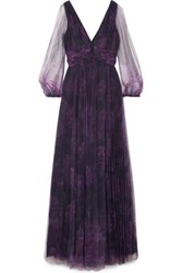 Marchesa Notte Floral Print Tulle Gown Navy