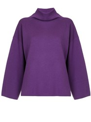 G.V.G.V. Milano Ribbed Bow High Neck Sweater Pink And Purple