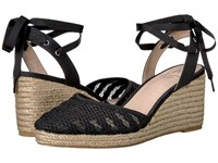 Adrianna Papell Penny Nero Floreat Net Women's Wedge Shoes Black