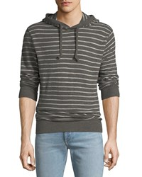 Faherty Striped Slub Hoodie Black White